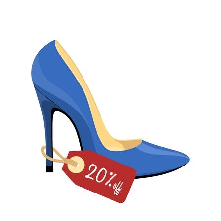 Blauer Stiletto-Schuh mit Preisschild isoliert auf weißem Hintergrund Standard-Bild - 86040166