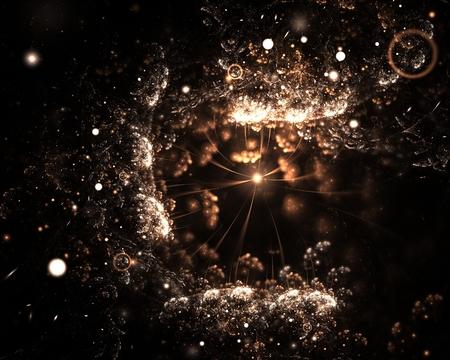 Sparkling underwater fractal background with spotlights over black background for your design
