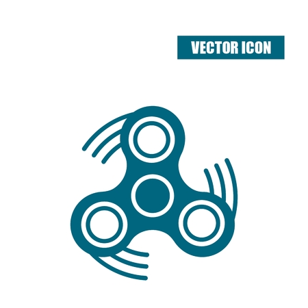 Fidget spinner icon in flat style isolated on white background. Illustration
