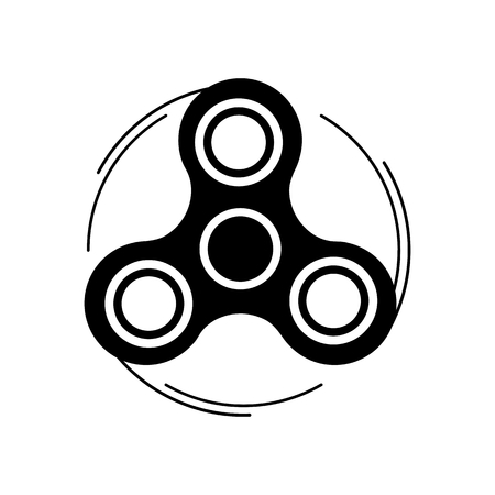 Fidget spinner icon. Trendy stress relieving toy isolated on white background. Illustration