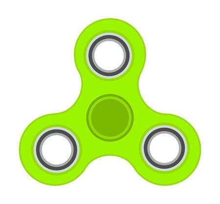 Green anti-stress toy fidget finger spinner isolated on white background Illustration