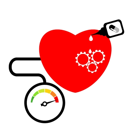 High blood pressure concept. Chronometer, heart and pills isolated over white background