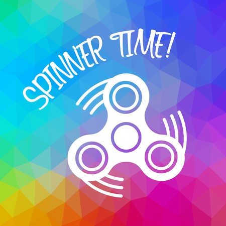 Spinner Time with finger spinner silhouette over triangular background. Color flow effect