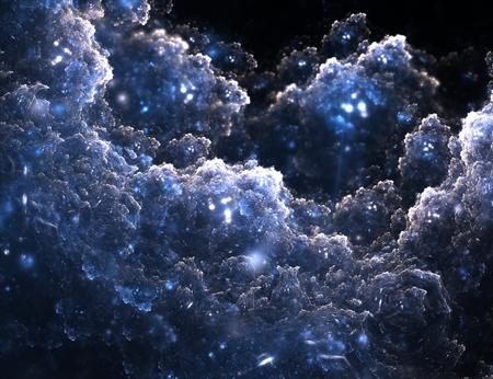 Fractal background with frost crystal structure over black background, digital artwork for creative graphic design