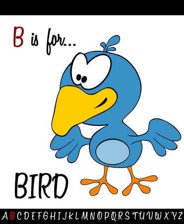 Illustrated vocabulary worksheet card with cartoon BIRD for Children Education