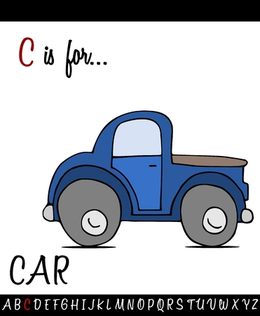 Illustrated vocabulary worksheet card with cartoon CAR for Children Education