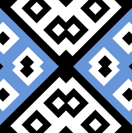 seamless geometric pattern design in blue, white and black colors