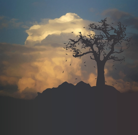 dark landscape with tree silhouette at sunset