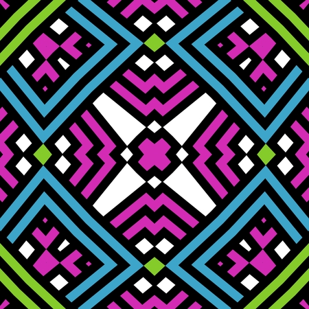 Beautiful seamless mosaic pattern in blue, black, purple, green and white colors Stock Photo