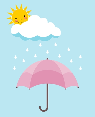 Pink umbrella, smiling sun, cloud and rain over pale blue background. Forecast concept Illustration