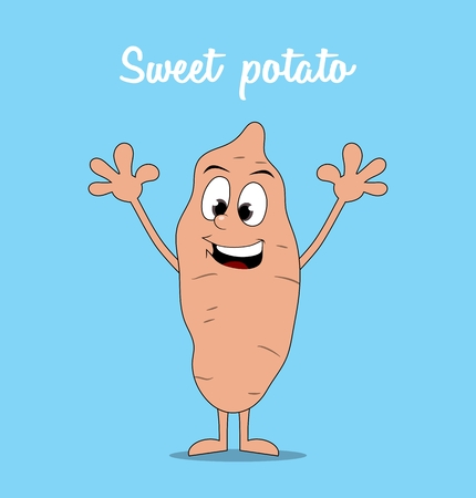 happy cartoon sweet potato isolated on blue background