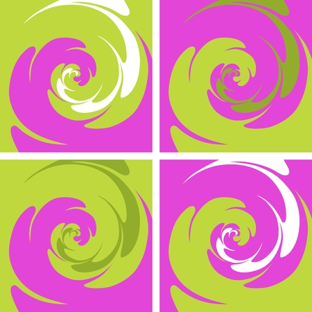 Set of four colored spiral background in pink, green and white colors. Illustration