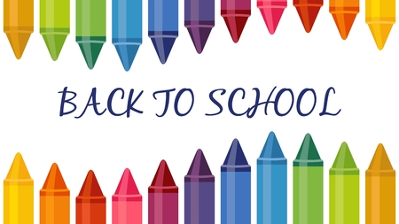 Seambless banner with colored pencils on white background. Great for your Back To School Projects. Art Supplies related design
