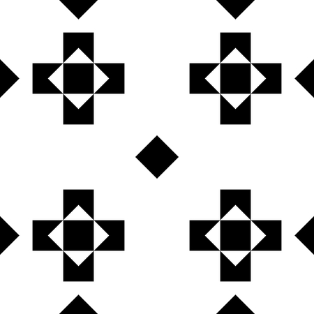 Seamless monochromatic geometric pattern or background with crosses and rhombuses for your design, wrapping paper, tiling etc. Illustration