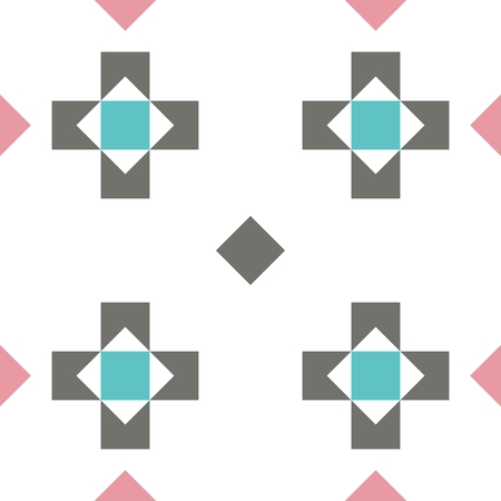 Seamless pastel colored geometric pattern or background with crosses and rhombuses in retro colors