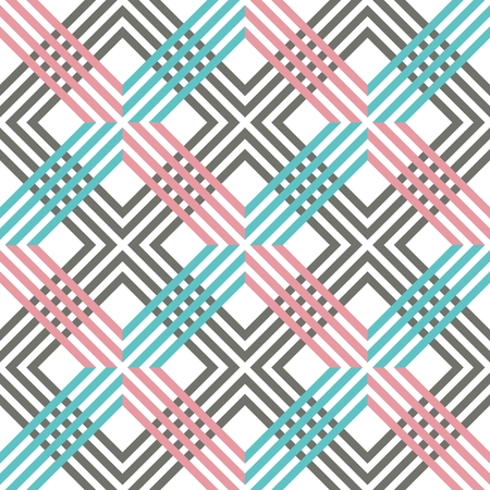 Abstract striped geometric pattern with lines and grids. Seamless vibrant colored background in pink, grey, white and blue colors. Optical illusion effect