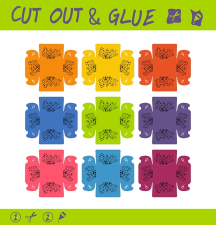 Cut out and glue educational paper game for children. Use scissors and glue to create colored boxes for small things, trifles, trinkets etc Ilustração