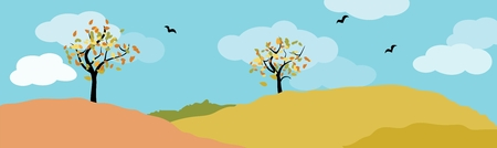 autumn landscape panorama with deciduous tree, meadow, birds and blue cloudy sky