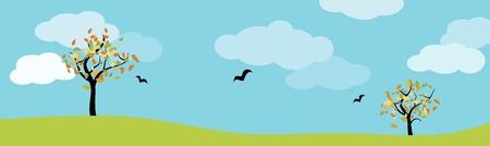 autumn landscape panorama with green meadow, trees, birds and blue cloudy sky Ilustração