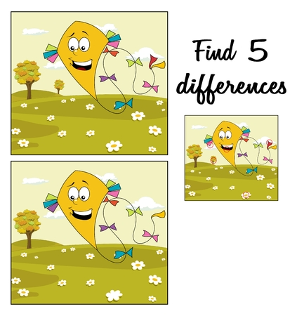 Autumn meadow with yellow kite floating over cloudy sky. Find 5 differences. Educational game for children