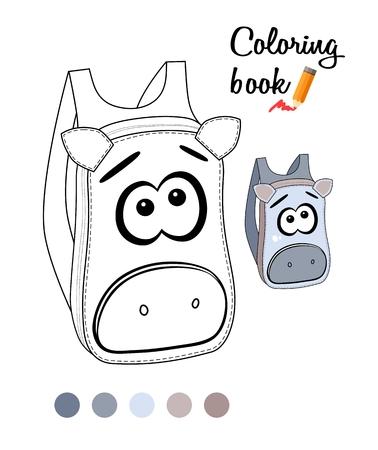 Coloring book or page for children with kiddish backpack Ilustração