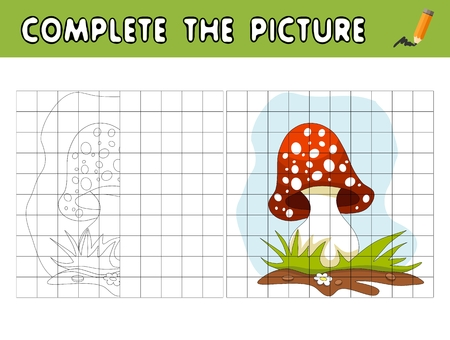 Complete the picture of cartoon amanita. Copy the picture and color it. Educational game for children.