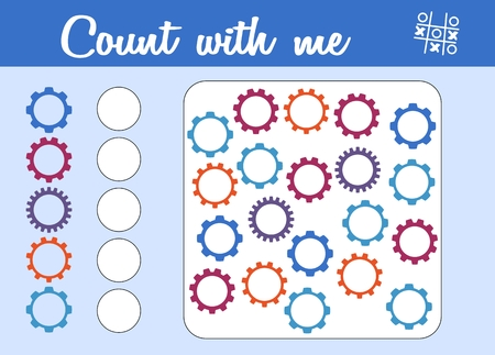 Counting game for preschool children. Educational a mathematical game. Count how many cogwheels and write the result