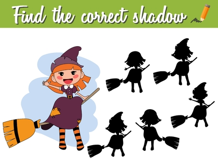 Find the correct shadow. Educational matching game for children with cartoon witch on a broomstick