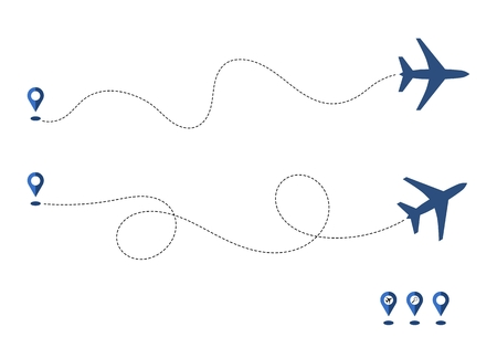 Plane and its way, track or route isolated on white background. Aircrafts and map pins symbols. Transportation concept or theme