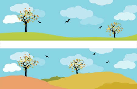 set of two autumn landscape panorama with deciduous tree, meadow, birds and cloudy blue sky