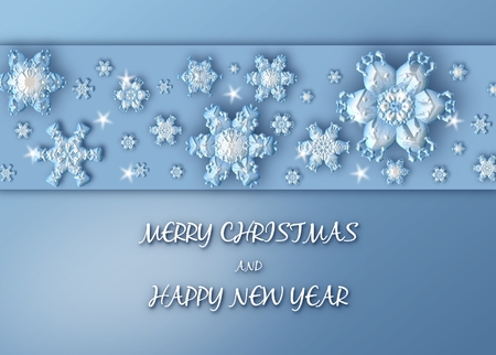 Merry Christmas Background with border made of blue snowflakes. Christmas Greeting Card 스톡 콘텐츠