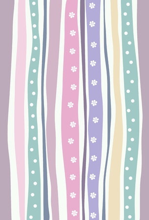 Horizontal seamless pattern with colorful stripes. Pastel colored background with flowers and dots motif