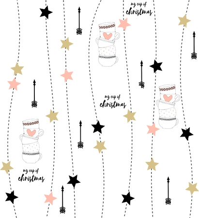 Nordic style illustration with arrows, stars pattern and my cup of christmas lettering on white background Illustration