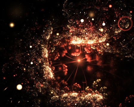 Abstract fiery sparkling underwater fractal with spotlights on black background. Fantasy fractal art