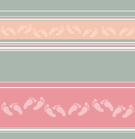 Abstract horizontal striped seamless pattern with scattered feet decor. Pastel colored background. Wrapping paper. Pattern for interior- and fabric design. Retro or vintage style
