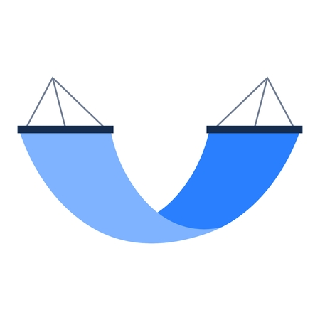 Blue swing bed or hammock simple icon isolated on white background