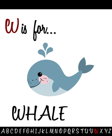 Cartoon Illustration of Capital Letter W with WHALE for Children Education