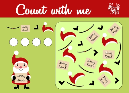 Counting game for preschool children. Educational a mathematical game. Christmas theme with Santa Claus. Count how many things and write the result