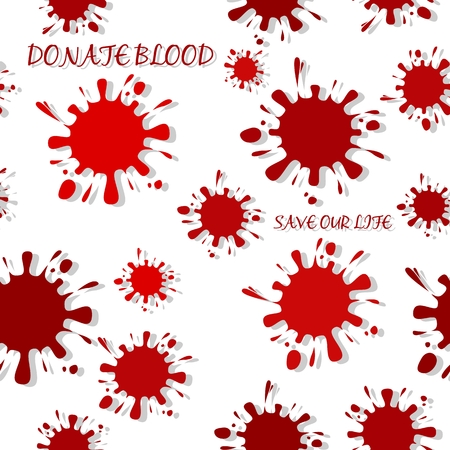 Seamless pattern with red colored ink blots and drop shadow isolated on white background