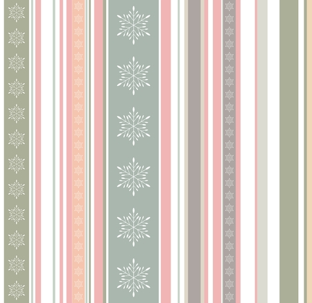 Creative pastel colored winter pattern with stripes, bars and snowflakes texture. New Year, Christmas geometrical background or texture in green, pink and orange hues Ilustração