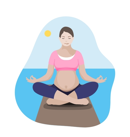 Pregnant mother relaxing in yoga lotus pose on the shore at the sea. Flat style