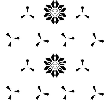 Seamless pattern with abstract flowers. Elegant monochromatic texture in black color over white background  イラスト・ベクター素材