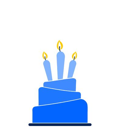 Blue ombre layered cake icon with three lit candles isolated on white background. Design template for label, banner, logo or badge.