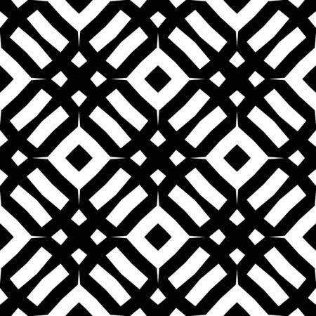 Seamless monochrome pattern tiling. Textile swatch for cloth, blanket, carpet, wrapping paper. Black and white texture. Geometric tiling design