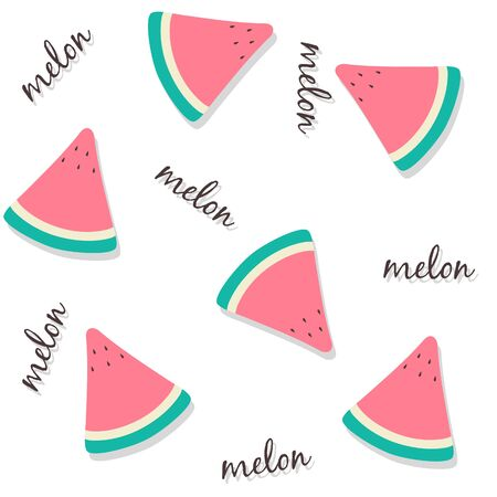 Seamless pattern of fresh red melon slices with lettering and drop shadow. Summer fruit background usable for wallpapers, wrapping papers, textile design etc Ilustração