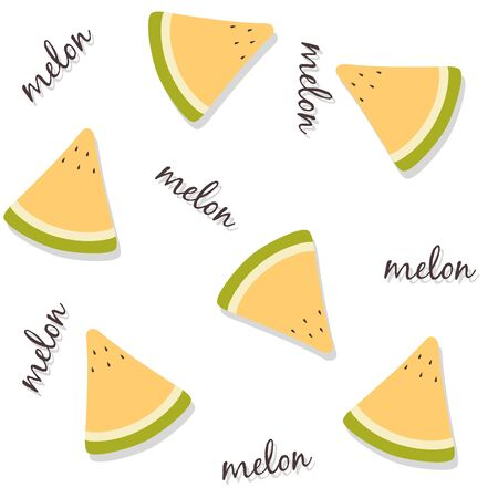 Seamless pattern of fresh yellow melon slices with lettering and drop shadow. Summer fruit background usable for wallpapers, wrapping papers, textile design etc Ilustração