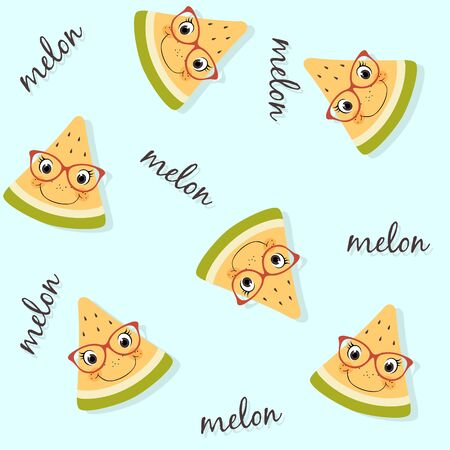 Seamless pattern of yellow watermelon with faces, spectacles, lettering and drop shadow. Summer fruit background usable for wallpapers, wrapping papers, textile design etc Illustration