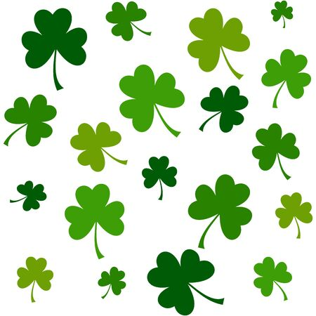 Seamless pattern with green three leaf clovers for textile background, wallpapers, wrapping papers. Good luck symbol