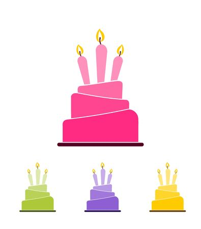 Set of four different colored cake icons with three lit candles isolated on white background. Design template for label, banner, logo or badge.