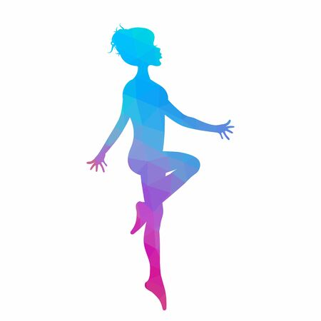 Silhouette of young woman dancing in low poly style isolated on white background